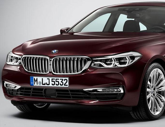 Rød BMW 6-serien gran turismo fra 2018